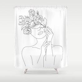 Female Head Of Flowers Shower Curtain