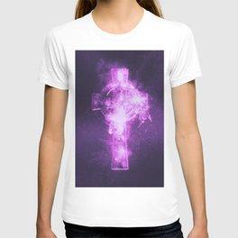 Celtic cross symbol. Abstract night sky background. T-shirt