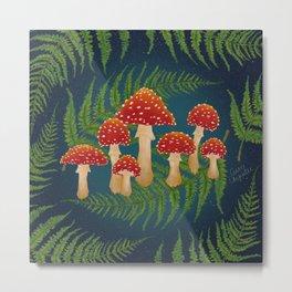 Magic Mushroom Fern Forest Navy  Metal Print