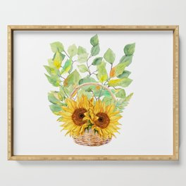 Basket Full of Sunflowers Serving Tray