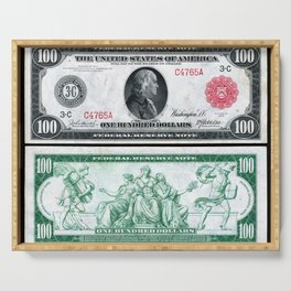 1914 $100 Dollar Bill Federal Reserve Note with a portrait of Benjamin Franklin Serving Tray