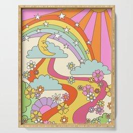 retro hippie boho print  Serving Tray