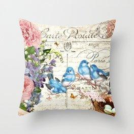 Vintage Postcard with Bluebirds Throw Pillow