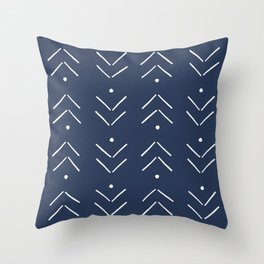 Arrow Lines Pattern in Navy Blue Throw Pillow
