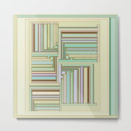 Toasted Temerity geometric print in beige taupe tan green and color glitches Metal Print