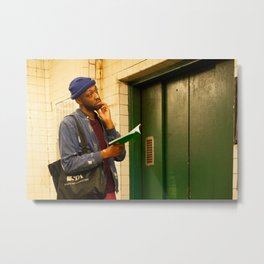 Man with a Book Waiting Elevator, A Metal Print