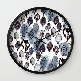 Wax Leaves-Gray Wall Clock
