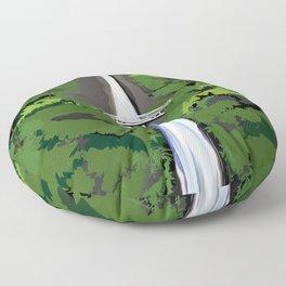 Multnomah Falls Illustration Floor Pillow