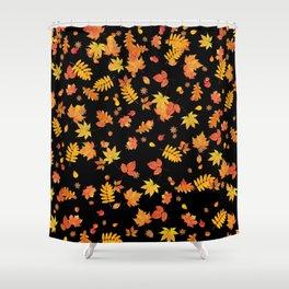 Autumn Leaves (Black) Shower Curtain