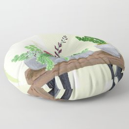 Cacti and Succulents on Greens Floor Pillow