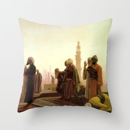 Islamic Masterpiece 'Prayer in Cairo' cityscape rooftop prayer portrait by Jéan Leon Gerome Throw Pillow