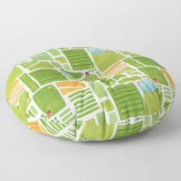 Bird's Eye View of the Countryside Floor Pillow