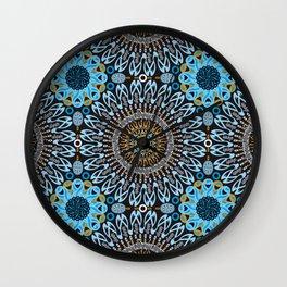 Calligraphic Boho (Blue) Wall Clock