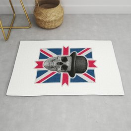 Skull with bowler hat and British flag Rug