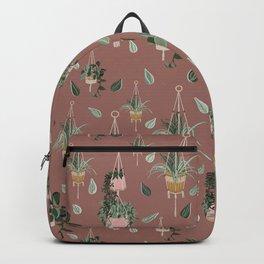 Modern Boho Macrame Plant Hangers Pattern Light Burgundy Backpack