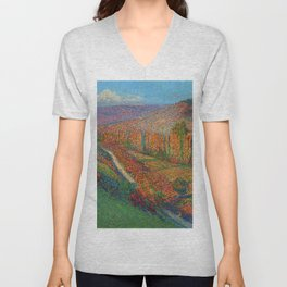 Green Valley with Autumn Foliage and Stream by Henri Jean Guillaume Martin Unisex V-Neck