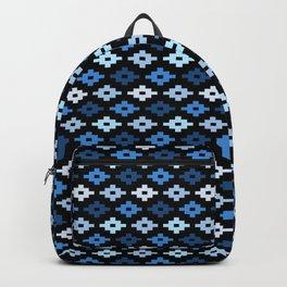 Geometric Flower Cross Stitch Appearance - Royal Blue On Black Backpack