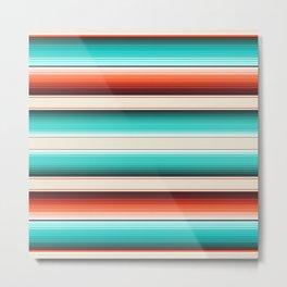 Navajo White, Turquoise and Burnt Orange Southwest Serape Blanket Stripes Metal Print