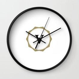 Vintage Letter V Monogram Wall Clock
