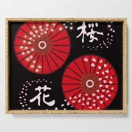 "SAKURA ""Japanese umbrellas and cherry blossoms"" Serving Tray"
