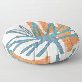 Mid Century Nature Print / Teal and Orange Floor Pillow