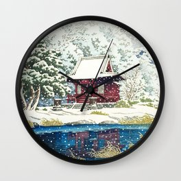 Kawase Hasui, Snowy Inokashira Benten Shrine - Vintage Japanese Woodblock Print Art Wall Clock