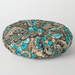 Floral Paisley Pattern - teal and golds Floor Pillow