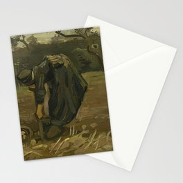 Peasant Woman Digging Up Potatoes Stationery Cards