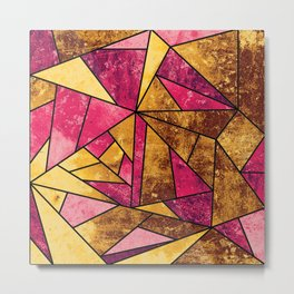 Hot Pink and Gold Geometric Stained Glass Mosaic Metal Print