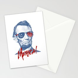Abraham Lincoln Merica design - NYE of 4th July Clothing Stationery Cards