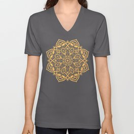 Elegant golden ochre mandala - tone on tone Unisex V-Neck