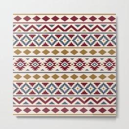 Aztec Essence Ptn III Red Blue Gold Cream Metal Print