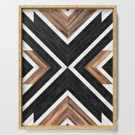 Urban Tribal Pattern No.1 - Concrete and Wood Serving Tray