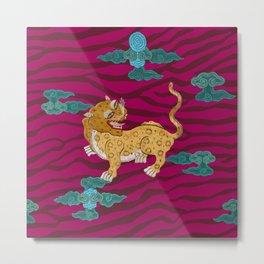 Foo Leopard on Magenta Metal Print