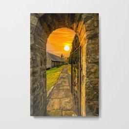Church Entrance Sunset Metal Print