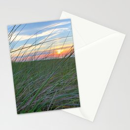 Rainbow sky through beach grass on Herring Cove Beach in Ptown Stationery Cards