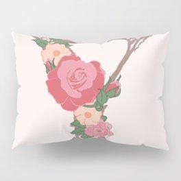 """Rose Gold Floral Letter """"Y"""" Pillow Sham"""