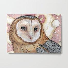Pink Sky Owl Metal Print