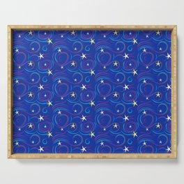Swirly Starry Sky Dk Blue Serving Tray