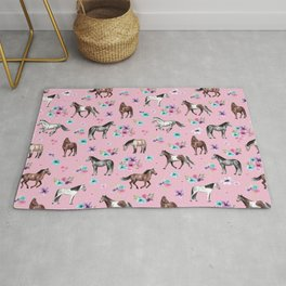 Horses & Flowers, Pink Pattern, Horse Illustration, Little Girls Room, Watercolor Rug