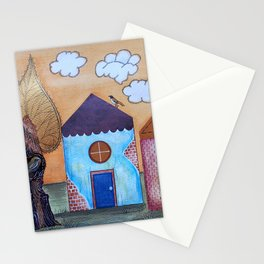 Little houses in Autumn Stationery Cards