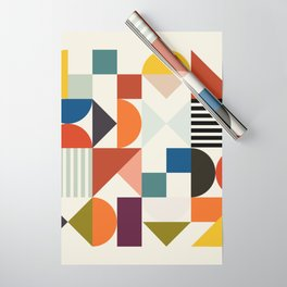 mid century retro shapes geometric Wrapping Paper