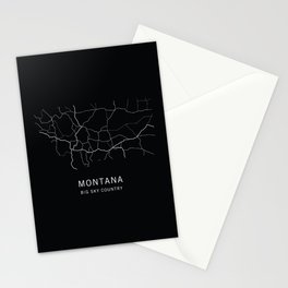 Montana State Road Map Stationery Cards