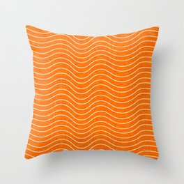 Surfing Waves Orange Throw Pillow