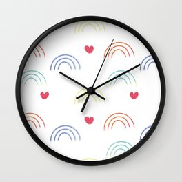 A Simple seamless texture with colorful rainbows and hearts for valentine's day or for kids. Wall Clock