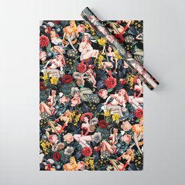 Floral and Pin-Up Girls IV Wrapping Paper