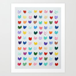 Polka Daub Hearts Art Print