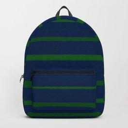 Slate Blue and Emerald Green Stripes Backpack