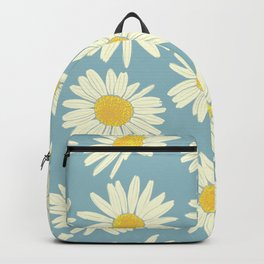 Vintage Daisy Pattern on Blue Backpack