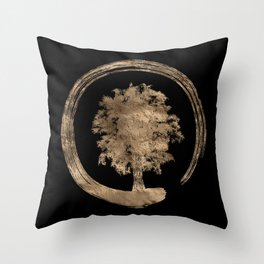 Enso Zen Circle and Tree - Gold on black Throw Pillow